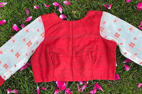 Red Rawsilk with Jamdani sleeves