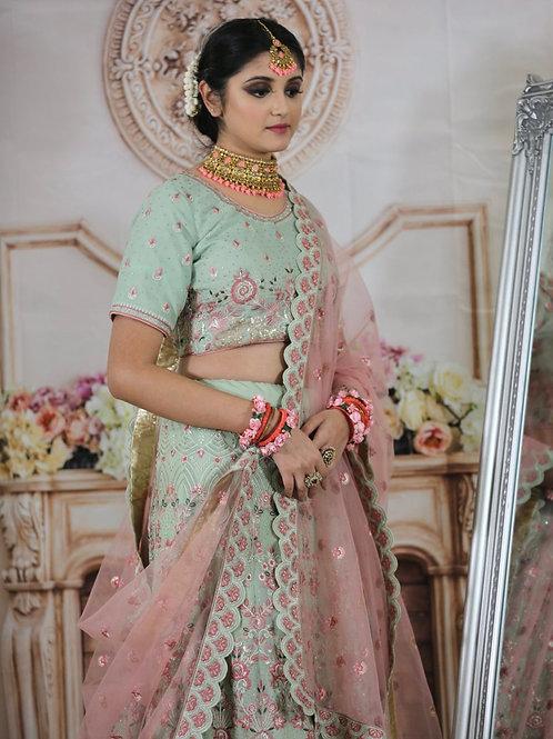 Gehena - Geogette Pista Green Bridal Wear Thread Work Lehenga Choli