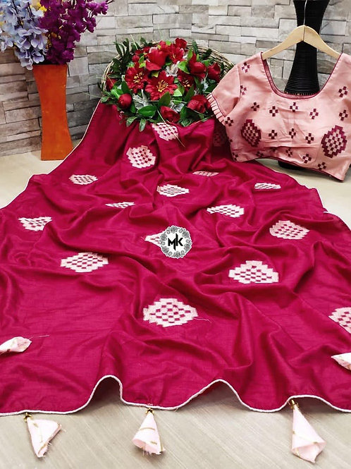 Dolls Silk Saree & Readymade Matching Blouse Pink
