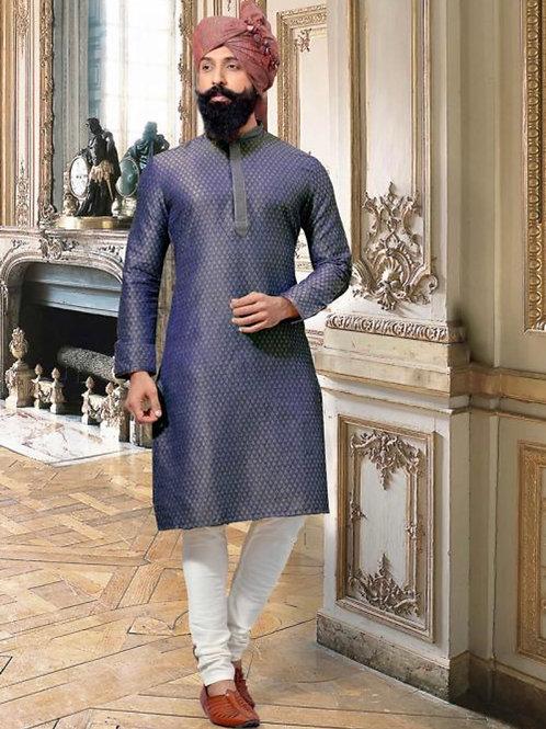 Blue Jacquard Party Wear Weaving Kurta Pajama