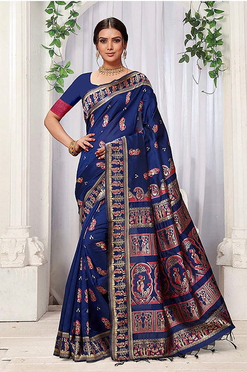 Navy Blue Baluchori - Party Collection , Holiday Give Away