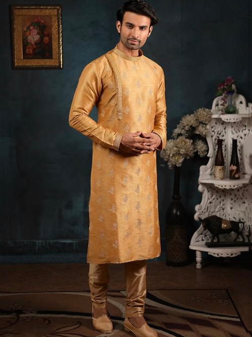 Fancy Orange Banarasi Silk Embroidery Work Kurta Pajama