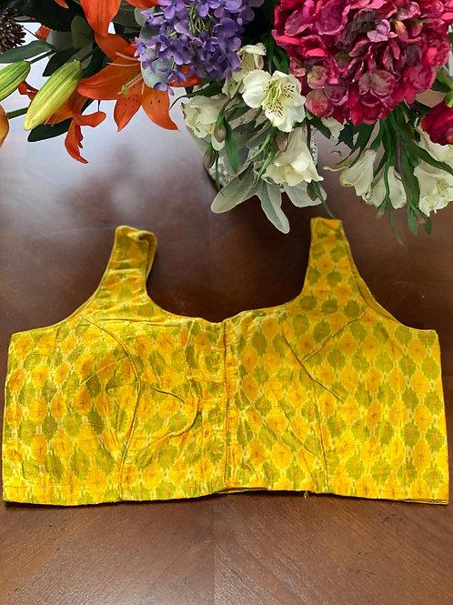 Yellow Ikkat U neck