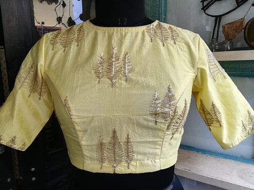 Lime yellow blouse .