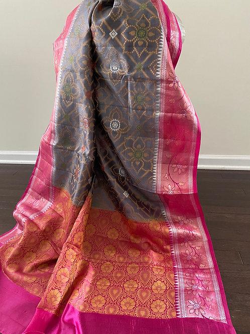 Pure silk  with Resham bandhni work