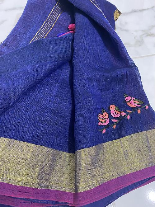 Linen  bird embroidery