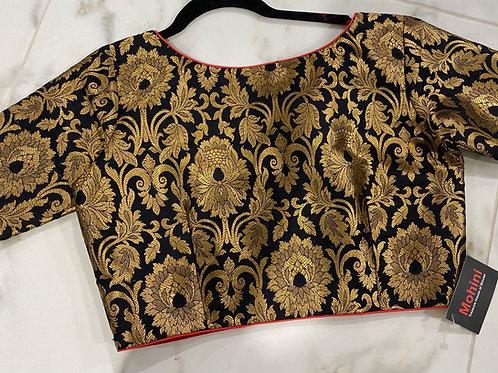 Black brocade side zip