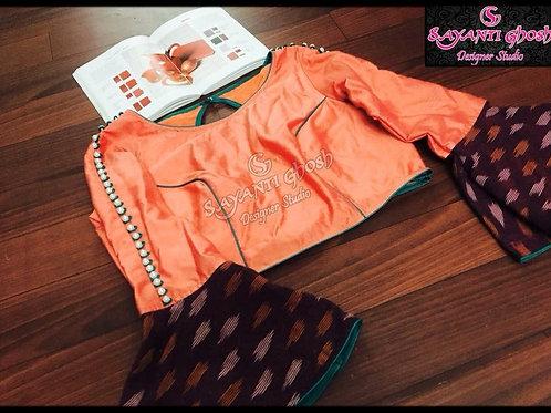 Peach flare blouse.