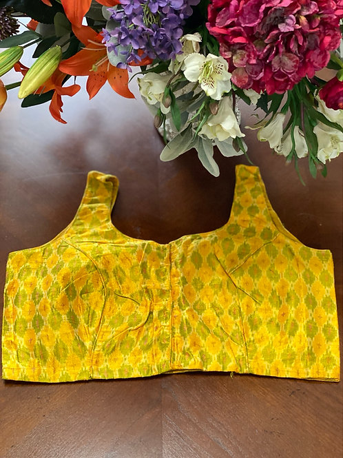 Dijon yellow ikkat with U  back-cut