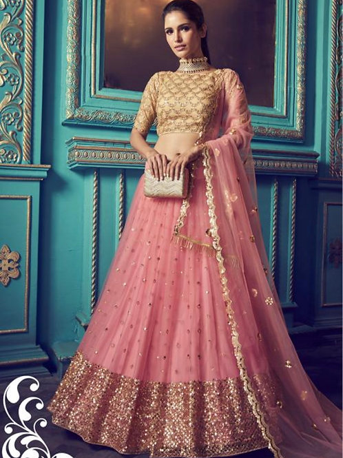 Urmi - Pink Soft Net Reception Wear Sequins Work Lehenga Choli