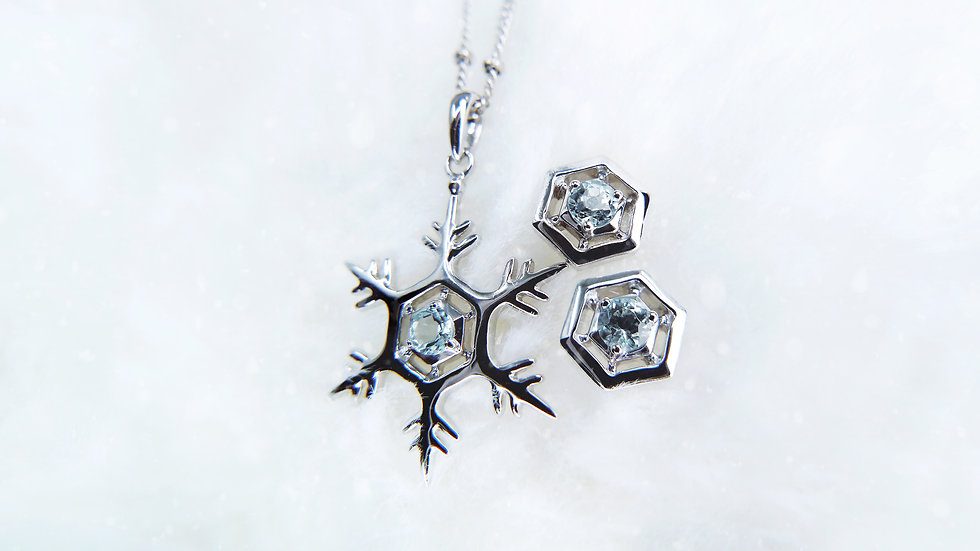 [Set 01] THE GIFT OF NATURE, SNOWFLAKE COLLECTION in 18k gold, Aquamarine