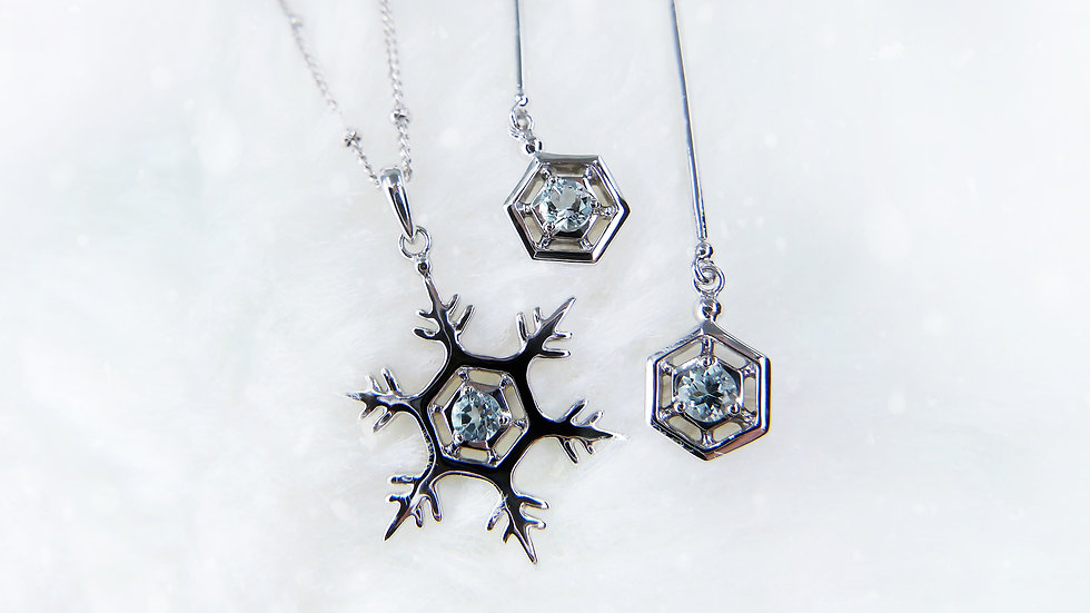 [Set 02] THE GIFT OF NATURE, SNOWFLAKE COLLECTION in 18k gold, Aquamarine