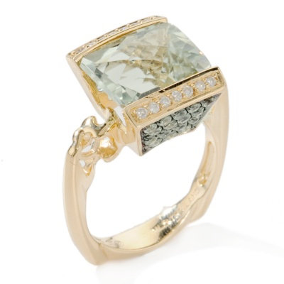 14k YG Prasiolite & Green Sapphire Tension Ring