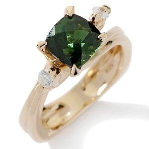 14k YG Green Tourmaline & Diamond Solitaire Ring