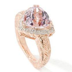 14k Rose Gold Kunzite Diamond Ring