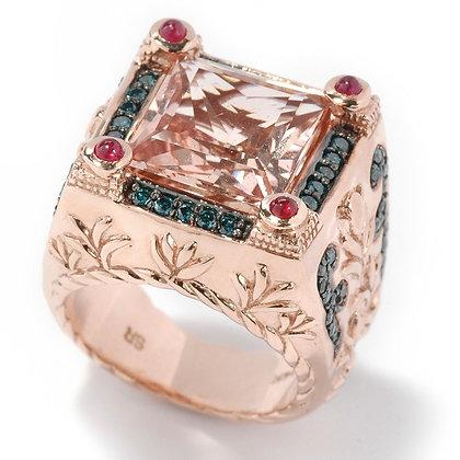 14k RG Morganite Diamond Dynasty Ring