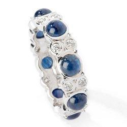 14k WG Blue Sapphire Diamond Eternity Band