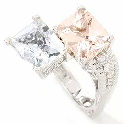 "14k WG Aquamarine & Morganite ""Twin"" Ring"