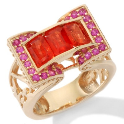 14k YG Orange Sapphire Ruby Bridge Ring