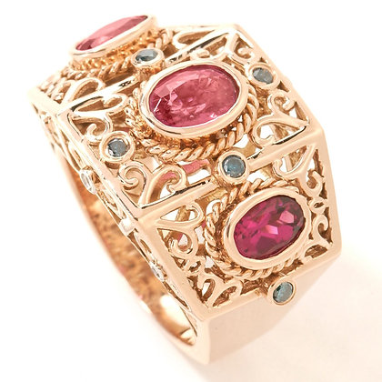 14k RG Rubellite Tourmaline & Diamond Ring
