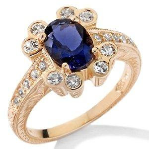 14k YG Iolite & White Sapphire Floral Ring