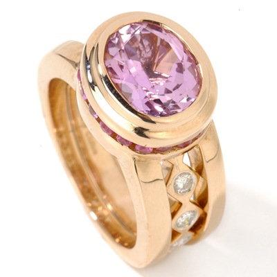 14k RG Kunzite Ruby & Diamond Ring