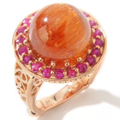 14k RG Cat's Eye Rutilated Quartz & Ruby Ring