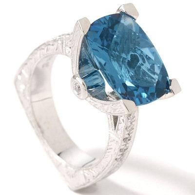 14k WG London Blue Topaz & Diamond Engraved Ring