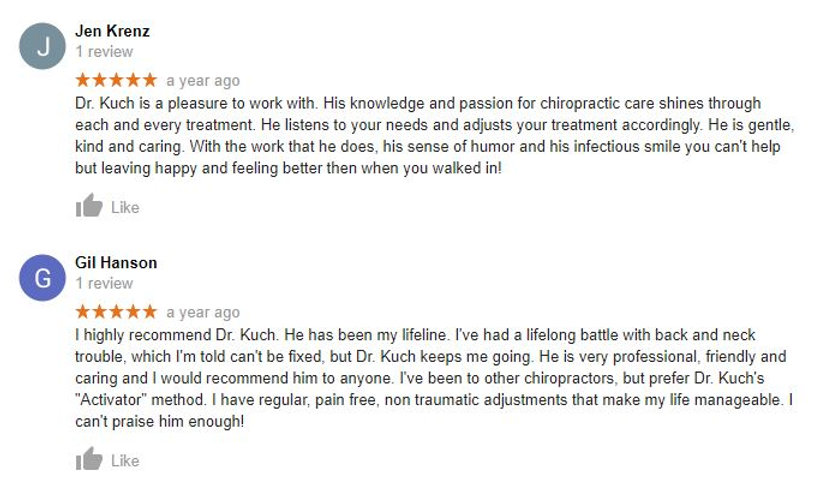 Reviews of Kuch Chiropractic
