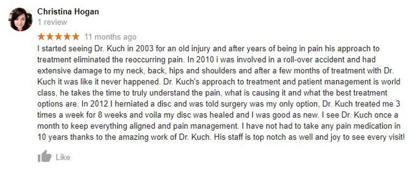 Review of Kuch Chiropractic