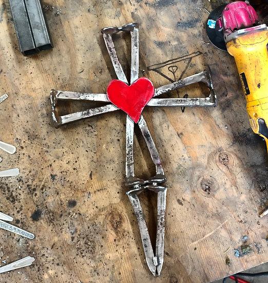 Railroad spike heart cross