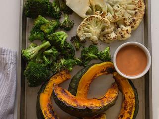 Verduras asadas con salsa BBQ