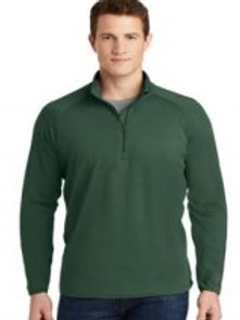 Men's Embroidered Forest Green Wicking Qtr Zip
