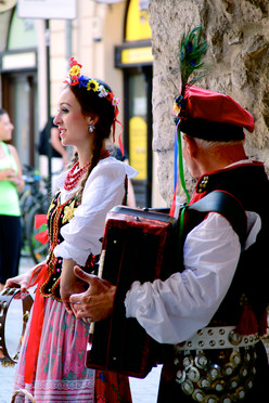 Traditional street performers, Krakow