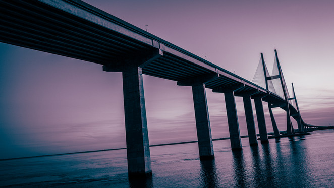 Sidney Lanier Bridge at dusk