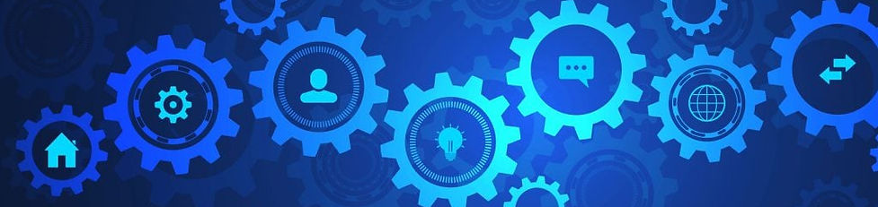 Information-technology-with-infographic-elements-and-flat-icons.-Cogs-and-gear-wheel-mecha