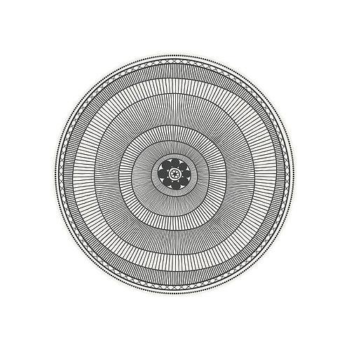 Set de Table en Vinyle Rond Anneaux Rayés Cyclades - Noir/Blanc 38cm Podevache