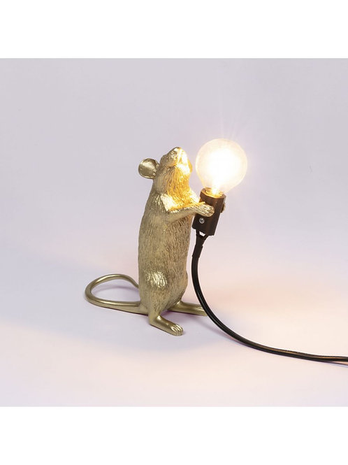 LAMPE SOURIS DEBOUT DORÉE SELETTI