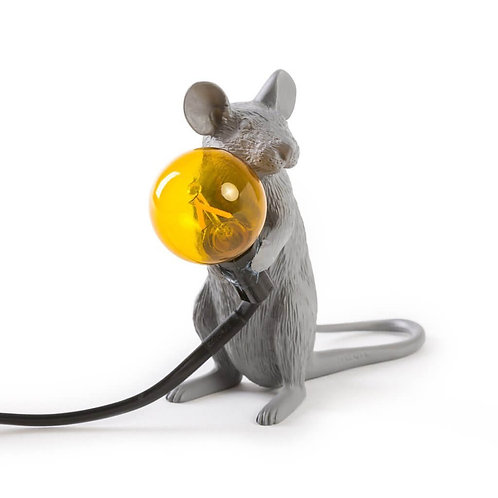 LAMPE SOURIS ASSISE GRISE SELETTI