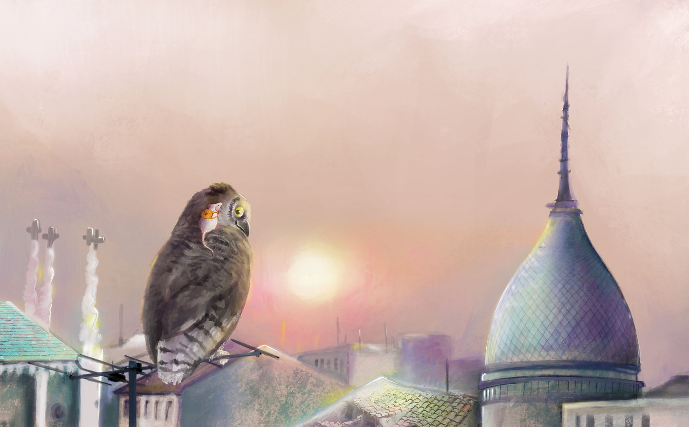 Children's books illustration - Owl and mouse - Stella Maris Mongodi