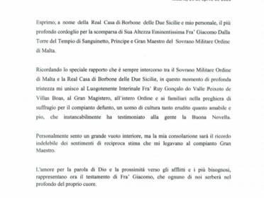 29.04.2020 - Cordoglio del Duca di Calabria per la morte del Gran Maestro dell'Ordine di Malta