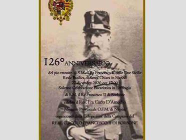 27.12.2020 – Solenne Santa Messa a Napoli in suffragio di S.M. Francesco II, Re delle Due Sicilie