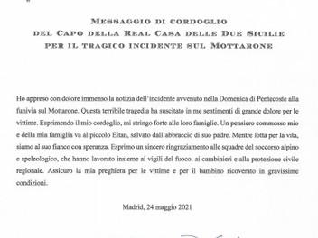 24.05.2021 - Cordoglio del Capo della Real Casa delle Due Sicilie per l'incidente sul Mottarone