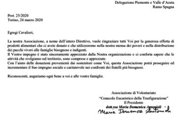 24.03.2020 - Donazione di derrate alimentari di prima necessità a Torino