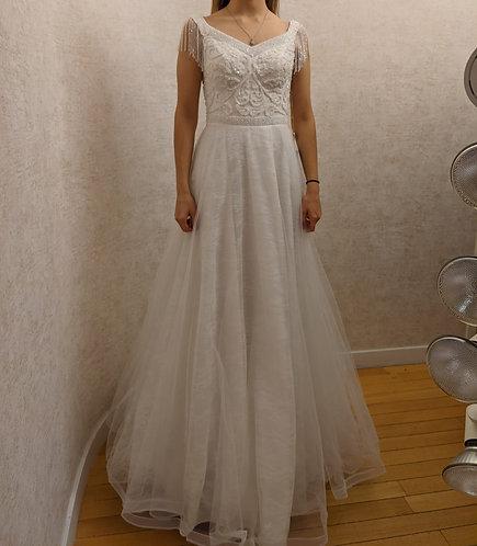 205001 A-Line Hand Beaded  Wedding Dress Ivory