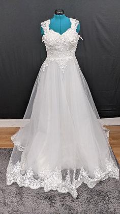 21218 A-Line Hand Beaded Plus Size Wedding Dress