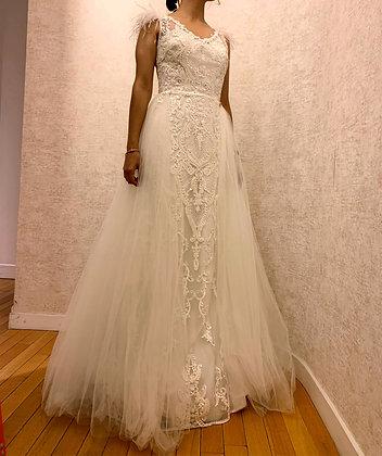 208002 Trumpet Hand Beaded Wedding Dress