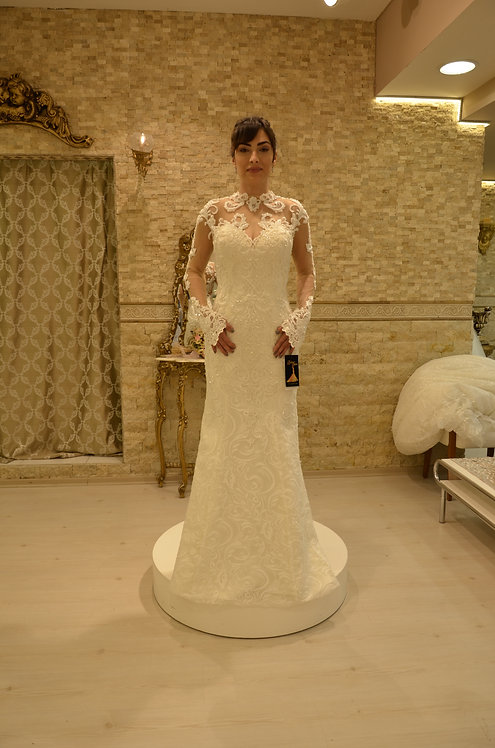 2014555 Mermaid Hand Beaded  Wedding Dress Ivory