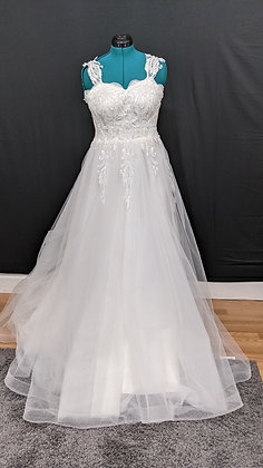 21576 A-Line Hand Beaded Plus Size Wedding Dress