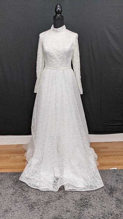 21901 A-Line Hand Beaded Muslim Wedding Dress